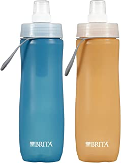 Brita 20 Ounce Sport Water Bottle with 2 Filters - BPA Free - Twin Pack, Blue and Orange