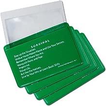 5col Survival Supply Fresnel Lens 4-Pack Credit Card Size Pocket Magnifier & Firestarter
