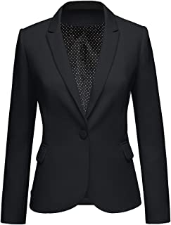 Womens Notched Lapel Pocket Button Work Office Blazer Jacket Suit
