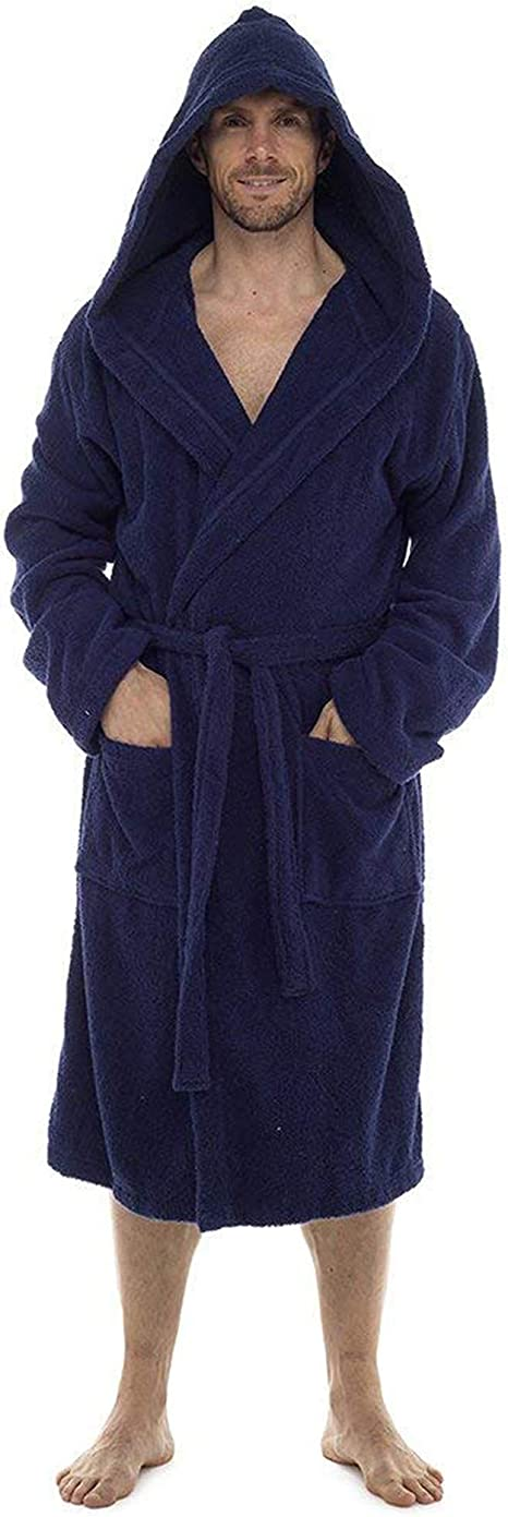 Men Towelling Robe 100/% Cotton Terry Towel Bathrobe Dressing Gown Bath Perfect for Gym Shower Spa Hotel Robe Holiday Navy XXL