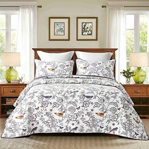 Unimall 4312293 Tagesdecke 230x250 cm Baumwolle Sofaüberwurf leicht zu pflegen Motiv: Singend Vögel im Wand