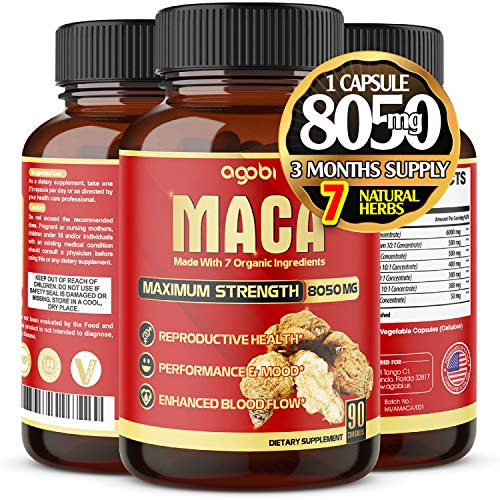 Organic Maca Root Capsules 8050 mg - Supports Reproductive Health Natural Energizer - Performance & Mood Supplement - Enhanced Blood Flow - 3 Months Supply