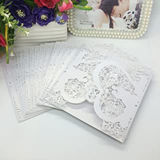 Anself 20Pcs Lace Wedding Party Invitation Card for Bridal Shower Birthday, Heart Pattern Pattern 1 White