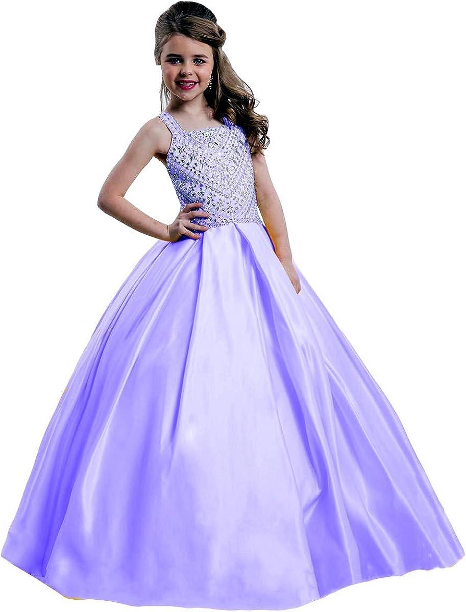 Honeydress Girl's Satin Spaghetti Girls Pageant Gowns Crystals Beadings Flower Girls Dress