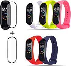 HITO 5pcs Xiaomi Mi Band 3/4 Strap Replacement and 2 pcs Explosion-proof Watch Film , Soft Silicone Strap Wristband WatchBand Accessories for Xiaomi Mi Band 3/4 (Waterproof, Wearable, Breathable)
