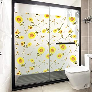 3D Static Cling Window Film Self Adhesive Glass Sticker,Sun Flower Privacy Window Film Stained Glass Sticker Static Frosted Opaque Bathroom Door PVC Home Decorative Film for Furniture (23.6x78.7)
