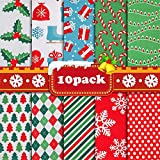 Valentines Day Fabric Bundles Sewing Square Fabric Scraps Quilting Fabric Squares 10 Christmas Patterns Cotton Patchwork for DIY Craft Holiday Party Supplies Gift Wrapper(19.68'x19.68', 10pcs)