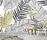 Pared Papel 3D Papel Pintado Murales Hoja De Plátano Blanco y Negro Nórdico 3D Wallpaper Art Póster De Impresión Hd Tv Telón De Fondo Pared Decorativos Murales Fotomural Deco Pared 140X100cm