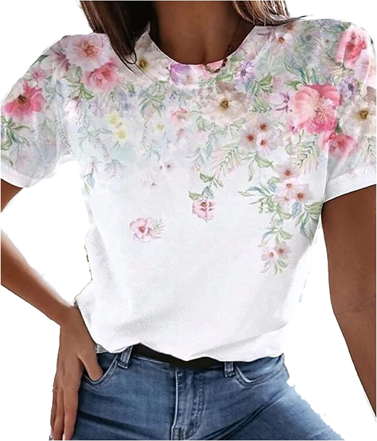Meichang Womens Floral Theme Painting T Shirt Short Sleeve Tunic Casual Comfy Tee Round Neck Basic Tops
