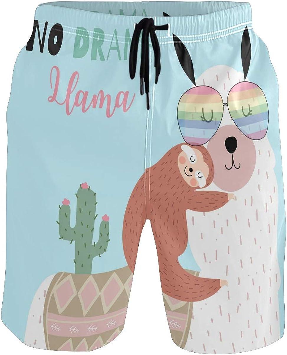 Auskid Sloth Llama Mens Swim Trunks Quick Dry Board Shorts Summer Beach Short with Pockets