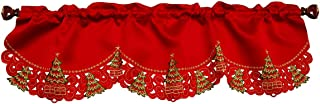 Grelucgo Christmas Holly Tree Window Curtains Valance Winter Holiday Decorations 59 X 17 Inch