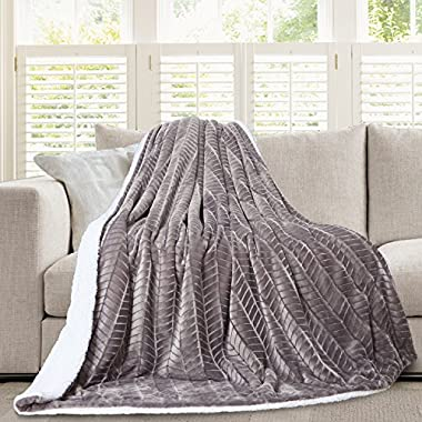 Micromink Flannel Throw Blanket, Reverses to Sherpa, Fuzzy Mink Cozy Warm Fluffy Velvety Home Fashion (60  x 80 )  Grey