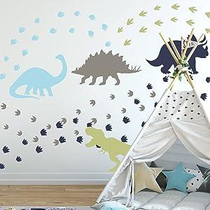 Yovkky Dinosaurs Footprints Wall Decal Boys, Peel and Stick DIY Dino Animal Tracks Wall Sticker Nursery Blue Grey Decor, Home Baby Room Decorations Kids Bedroom Playroom Art Party Supply Gifts