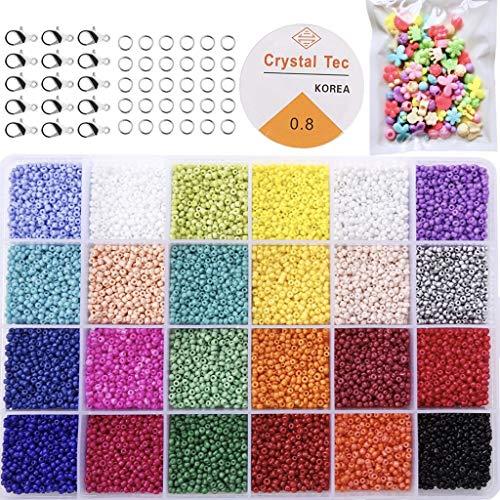 KAIMIRUI Cuentas de Colores 2mm Mini Cuentas cuentas de cristal para los niños y Abalorios Cristal para DIY Pulseras Collares Bisutería (24 Colores)