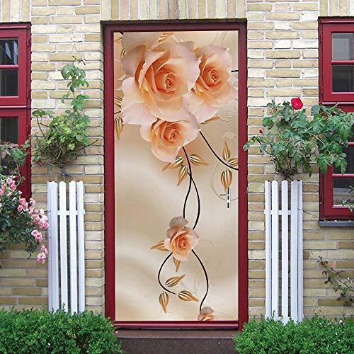 WXhGY 3D Adhesivo para Puerta Flor De Vid Amarilla PVC Autoadhesivo Impermeable Papel Pintado Puerta Mural Puertas Pegatinas para Puerta Cocina salón Dormitorio Cuarto de baño 77x200cm