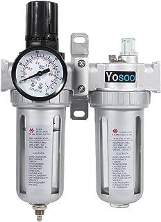 Yosoo Compresor de Aire Trampa de Humedad Filtro de Agua y Aceite Regulador de Presión Herramienta de Lubricación