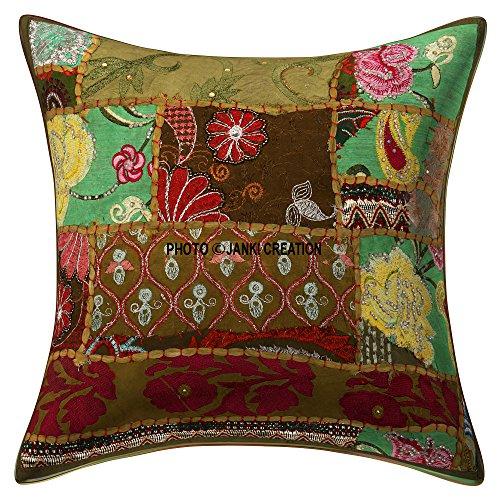 Décoration décoratifs Heavy faite à la main brodé travail Coton indien Taie d'oreiller Housse de coussin Taies d'oreiller élégant Unique Taie d'oreiller Taie d'oreiller 61 x 61 cm