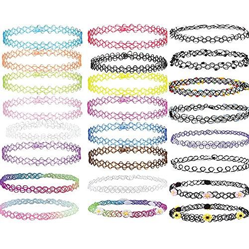 24 Piezas Conjunto de Collar de Gargantilla, Gargantilla Collar ,Elástica de Tatuaje Vintage Collar con Encanto, para niñas, mujeres y niñas .