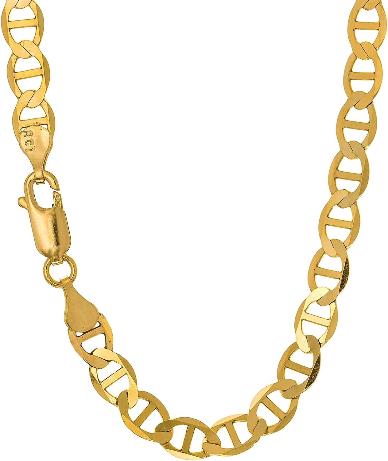 JewelStop 10k Solid Yellow Gold 4.5mm Mariner Chain Necklace - 16