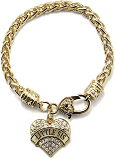 Gold Pave Heart Charm Bracelet with Cubic Zirconia Jewelry