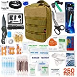 250pcs Tactical First Aid Kit Includes Molle Compatible Bag - Perfect for Hiking Hunting Camping Car Boat Adventures Emergency or Earthquake Safety… (Tan)