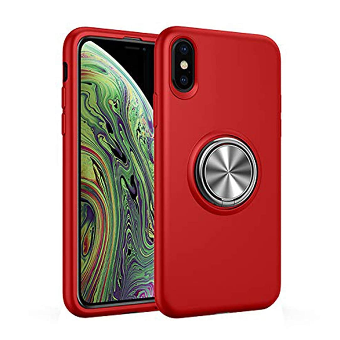 Xsmax Phone Case Compatible with iPhone Xs Max Cover Ring Holder 360 Rotating Magnetic IP Xmaxs Xmax Protective Xphone Bumper Skin 6.5 Inches (Red)