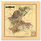 Antiguos Maps - Zacatecas Map from Atlas Mexicano Circa 1884 - Measures 24 in x 24 in (610 mm x 610 mm)