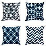 Artscope Moderne Geometrische Kissenbezug, 4er Set Baumwolle Leinen Dekokissen Kissenhülle Kissen Fall für Sofa Auto Schlafzimmer 45x45cm Blau