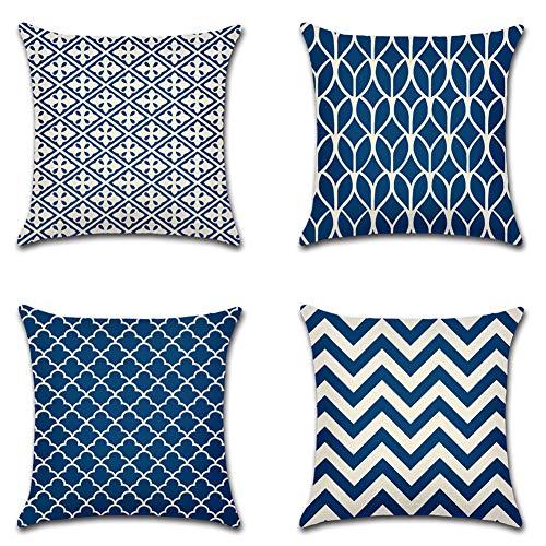 Artscope Moderne Geometrische Kissenbezug, 4er Set Dekokissen Kissenhülle Kissen Fall für Sofa Auto Schlafzimmer 45x45cm Blau