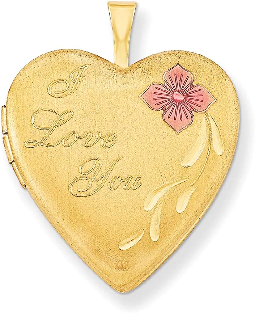1/20 Gold Filled 20mm Enameled I Love You Heart Locket Chain Necklace Pendant Charm Fashion Jewelry For Women Gifts For Her