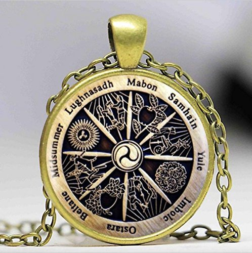 Collar con colgante de Wicca del zodiaco del zodiaco Wicca, collar retro creciente de la creciente joyería de las mujeres, regalo de los hombres