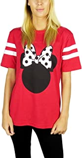 Womens Minnie Mouse Varsity Football Tee Red