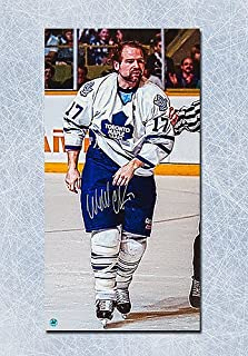 Wendel Clark Toronto Maple Leafs Autographed Fight Champion Art 14x28 Canvas - Signed Hockey Pictures