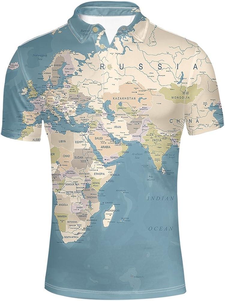 HUGS IDEA Men's Polos Shirt Short Sleevee Map Pattern Casual T-Shirt