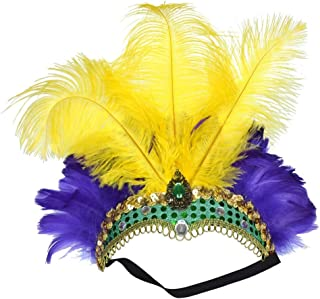 Fascinator Handmade Custom Ostrich Feather Headdress Spousal Tiara Fashion Belly Dance Coloration Perform Hair Hoop tire ( Color : Yellow Purple )