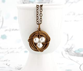 Bird Nest Necklace For Mother With Ivory Simulated Pearl Bead Eggs - Bronze - 20 inch chain