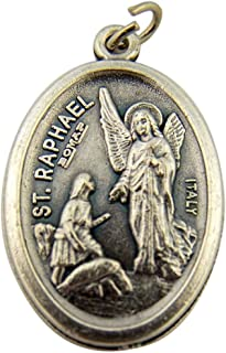 Religious Gifts Silver Toned Base Catholic Saint St Raphael The Archangel Medal Pendant, 1 Inch