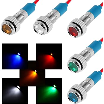 Rosso Qiilu 4 pezzi 12v 8mm LED pannello spia pilota spia spia spia auto barca van