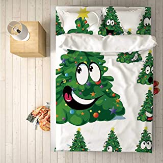 Christmas Durable 4 Piece Bedding Set,Christmas Tree Cartoon with Star and Different Funny Face Expressions Decorative for Room,One Side Print : King