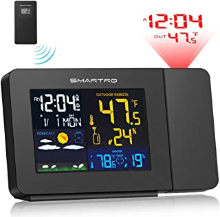 SMARTRO Projection Alarm Clock for Bedrooms with Weather Station, Wireless Indoor Outdoor Thermometer, Temperature Humidity Monitor Gauge Hygrometer