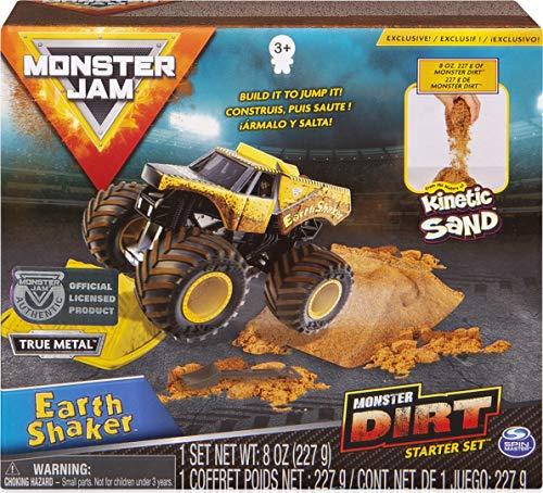 Monster Jam SPINMASTER 6045198 Monster Dirt Deluxe Pack - Earth Shaker - Juego de camión de arena cinética a escala 1:64