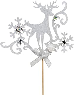 Merry Christmas Reindeers Cake Topper, Happy New Years Cake Decorations, Hello 2019 Sign