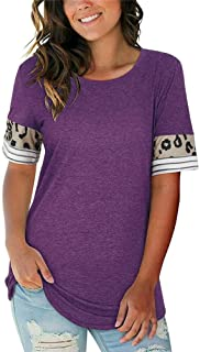 QXXKJDS Womens Short Sleeve Crew Neck T-Shirts Ladies Summer Casual Blouse Tops Tee summer (Color : Purple, Size : S)