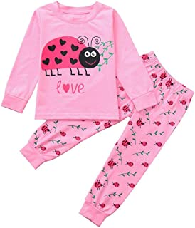 Toddler Kids Baby Girls 2Pcs Clothes Sets for 12 Months-5T,Long Sleeve Cartoon Ladybug Letter Print Top + Pants Set Outfits
