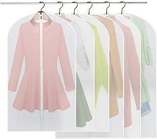 Fundas de Ropa, BREEZO 6PCS PEVA a prueba de fundas para la ropa bolsa para ropa, Full cremallera bolsa para traje, lavable transparente funda para vestidos (3pcs 60*100cm +3pcs 60*120cm)