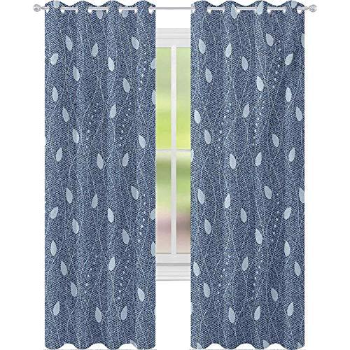 Cortinas térmicas para ventana, con aislamiento térmico, fondo de mezclilla contemporáneo, mezcla de la naturaleza, 153 cm de largo, cortinas opacas para habitación de niños, color azul pizarra