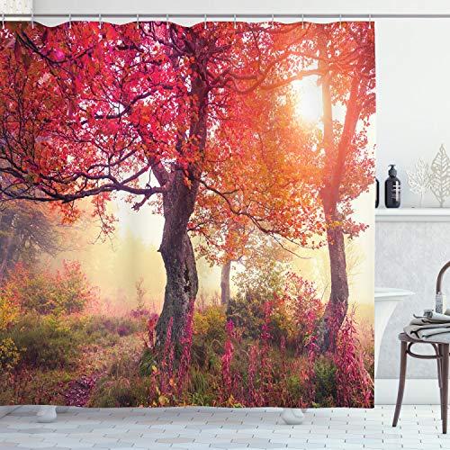 ABAKUHAUS Wald Duschvorhang, Blumen im Park Herbst, Bakterie Schimmel Resistent inkl. 12 Haken Waschbar Stielvoller Digitaldruck, 175 x 200 cm, Rot-Braunen
