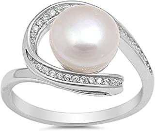 Clear CZ Simulated Pearl Swirl Ring New .925 Sterling Silver Band Sizes 5-10
