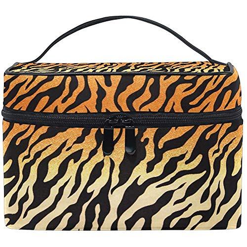 Grand sac de maquillage organisateur animal africain tigre imprimé léopard sac à cosmétiques sac de rangement de toilette poche à fermeture éclair poche sac de brosse de voyage