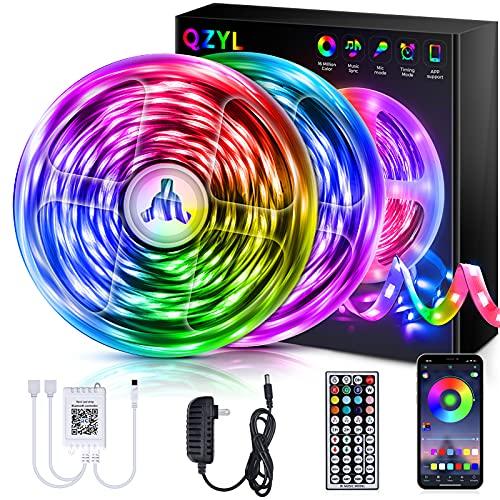 QZYL 65.6ft LED Strip Lights, RGB Color Changing LED Lights with 44 Keys Remote Control, LED Lights for Bedroom, Kitchen, Party, Home Decoration